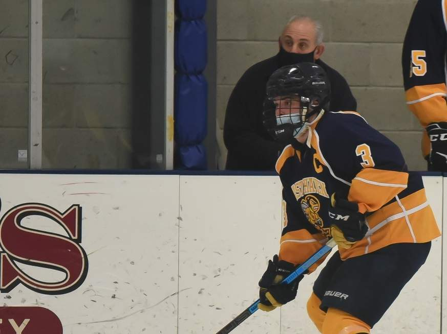 Senior captain Rocco Plano and the East Haven co-op boys' ice hockey team have spent the past few weeks in quarantine, but are planning on completing their season by competing in the SCC Tournament this week. File photo by Kelley Fryer/The Courier