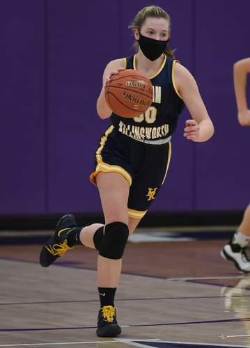 Sophomore Kaleigh Bodak helped the H-K girls' basketball team claim a 50-25 road victory versus Westbrook on March 8. Photo by Kelley Fryer/The Source