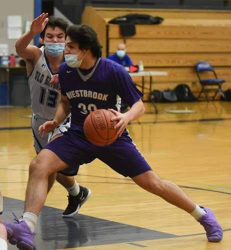 Senior captain Jack Naccarato and the Westbrook boys' basketball team lost a pair of contests and dropped to 1-9 on the season. Jack Naccarato scored 15 points in a 69-47 home loss versus Morgan on March 11. File photo by Kelley Fryer/Harbor News