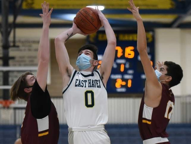 Junior Shea Carasone scored eight points for the Easties when they earned a 63-62 win versus Branford on March 12. File photo by Kelley Fryer/The Courier
