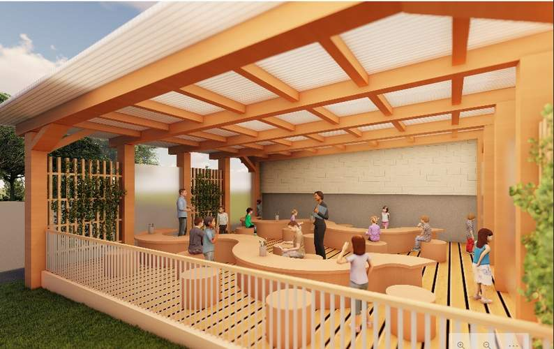 Cassandra Archer of Centerbrook Architects donated her plans for the open-air meeting space. Image courtesy of Charlene Fearon