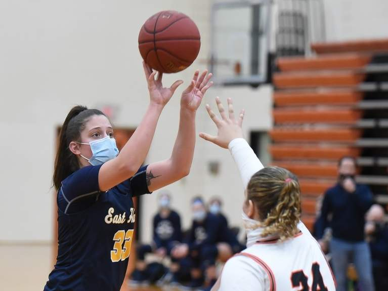 Senior captain Taylor Salato and the East Haven girls' basketball team came back from quarantine and gave Shelton a run for its money in a 40-38 loss in the first round of the SCC Division I Tournament last week. Photo by Kelley Fryer/The Courier