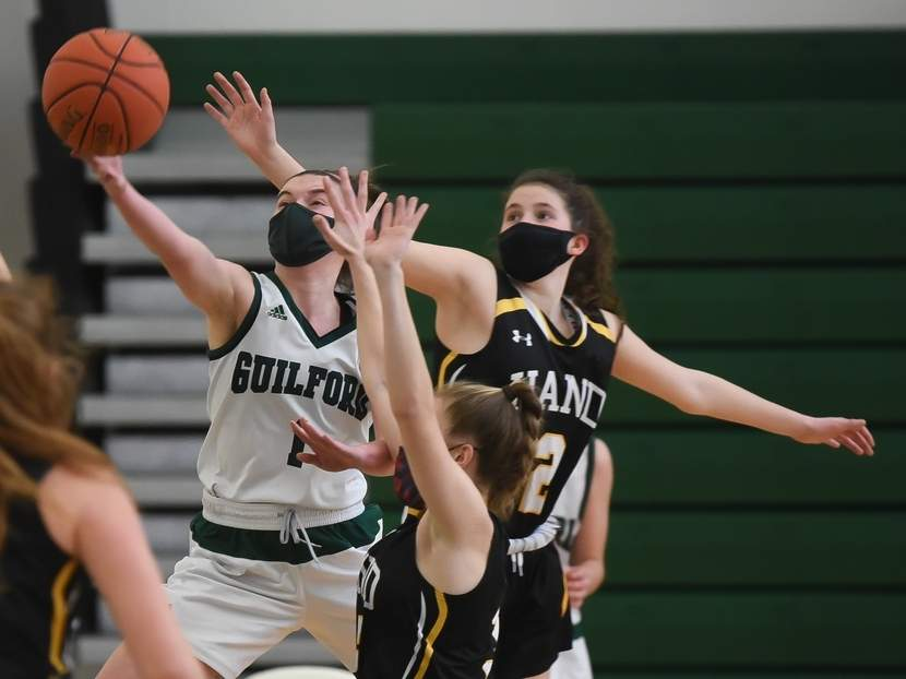 Senior captain Moira Kellaher and the Guilford girls' basketball team worked hard all winter to get their first victory of the season and saw that effort pay off with a 40-28 win versus Branford in the first round of the SCC Division II Tournament last week.  Photo by Kelley Fryer/The Courier