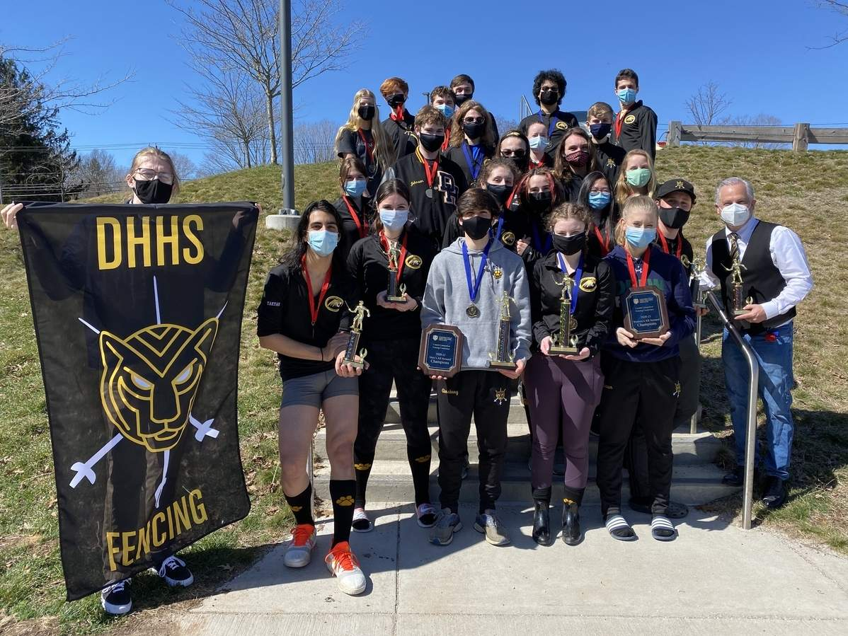 The Hand fencing program saw both its girls' and boys' teams take first place at the Conference Championship meets that were held last week. Photo courtesy of Michael Ginsburg