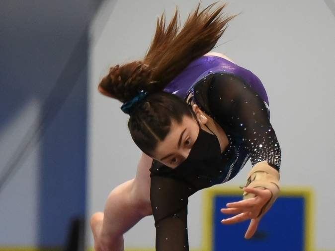 Sophomore Ella Esposito finished fifth all-around on behalf of Guilford gymnastics at last week's SCC Virtual Championship meet. File photo by Kelley Fryer/The Courier
