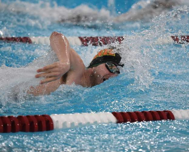 North Haven senior Cam Cargan put forth solid performances in the 50 and 100 freestyle events to help the Greater New Haven Warriors co-op boys' swimming and diving team finish in second place as a squad at the SCC Virtual Championship meet. Photo by Kelley Fryer/The Courier