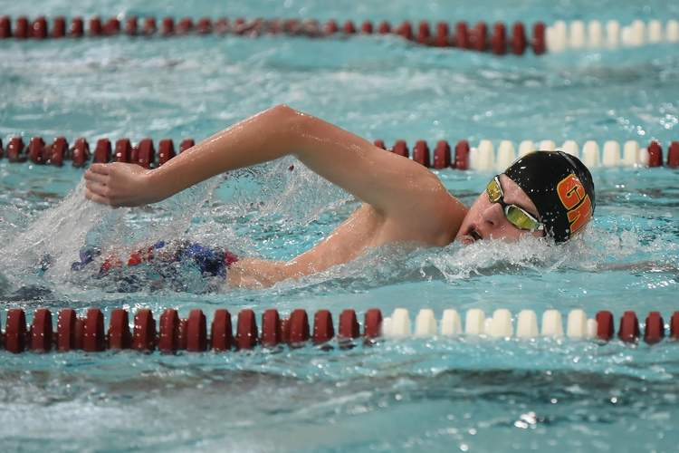 Guilford sophomore Aiden Cohen turned in solid performances in both of his individual events and a pair of relays when the GNH Warriors competed at the SCC Virtual Championship on March 18. Photo by Kelley Fryer/The Courier