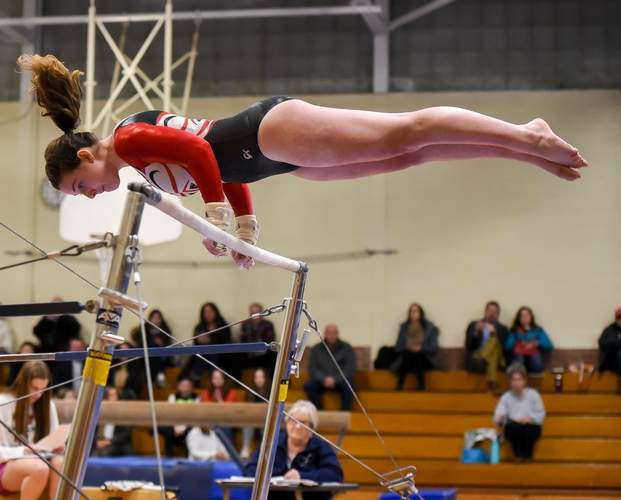 Sophomore Kendra Cika and the Valley Regional gymnastics squad claimed second place in the Shoreline Conference Championship meet on March 21. File photo by Kelley Fryer/The Courier