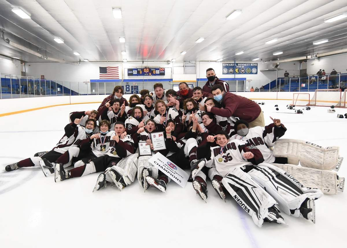 North Haven boys hockey beat Cheshire 3-0 to win the 2021 Division II SCC Championship at the Bennett Rink, West Haven.  Photo by Kelley Fryer/The Courier