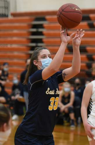 Senior captain Taylor Salato and the East Haven girls' basketball squad overcame a slow start and a team quarantine to notch five victories during the shortened winter season. Salato made the All-SCC East Division Team on behalf of the Yellowjackets.   File photo by Kelley Fryer/The Courier