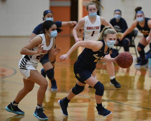 Junior Kate Pycela and the Yellowjackets finished their campaign by claiming a 55-51 victory versus crosstown rival Branford in their finale. File photo by Kelley Fryer/The Courier