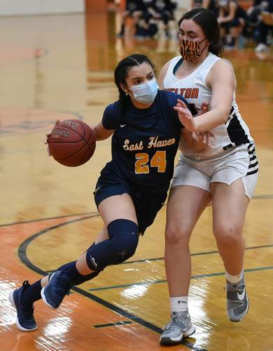 Juliana Iovino logged her fair share of varsity minutes for the East Haven girls' basketball team as a freshman this season. File photo by Kelley Fryer/The Courier