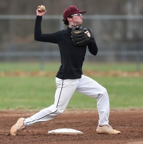 Junior shortstop Ty Rooney hit a two-run double to help the North Haven baseball squad notch an 8-3 victory versus Guilford in its 2021 opener last week. Photo by Kelley Fryer/The Courier