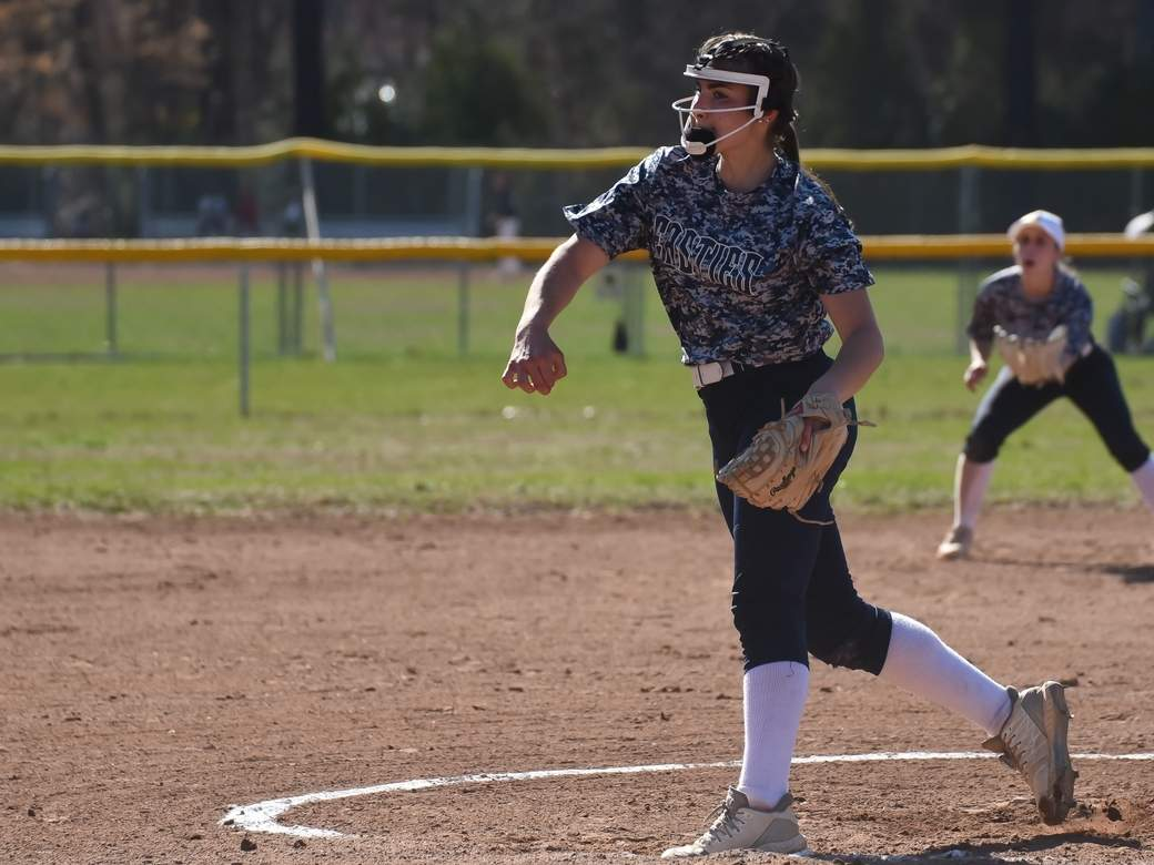 Senior captain Tori Heaphy tossed a complete game when the East Haven softball team defeated Branford by a 14-1 score in its first game in two years on April 10. Photo by Kelley Fryer/The Courier