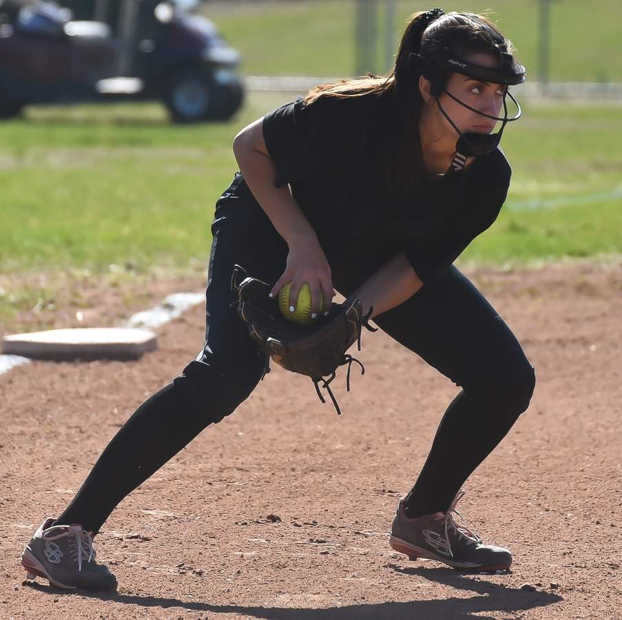 North Haven softball scrimmaged with East Haven at home. Maria Lockery (3B) Photo by Kelley Fryer/The Courier