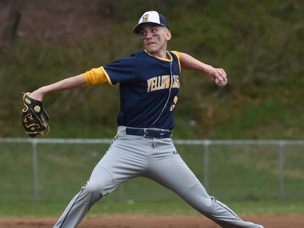 Senior captain Nick Furino and the East Haven baseball team claimed an 8-5 victory over Branford in their season opener at The Pit on April 12. Photo by Kelley Fryer/The Courier