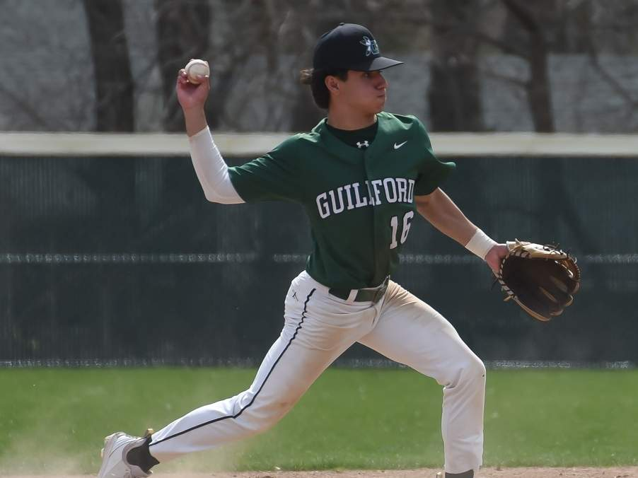 Senior captain Jake Ciocca and the Guilford baseball squad recently began their first season with Nick Merullo as the team's head coach. Merullo likes the attitude and enthusiasm that he's seen from his team thus far. Photo by Kelley Fryer/The Courier