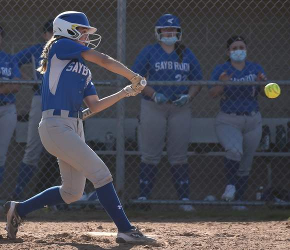 Senior captain Christina Lombardi and the Old Saybrook softball squad notched their first win of the year with a victory over Hale-Ray on April 14.  File photo by Kelley Fryer/Harbor News