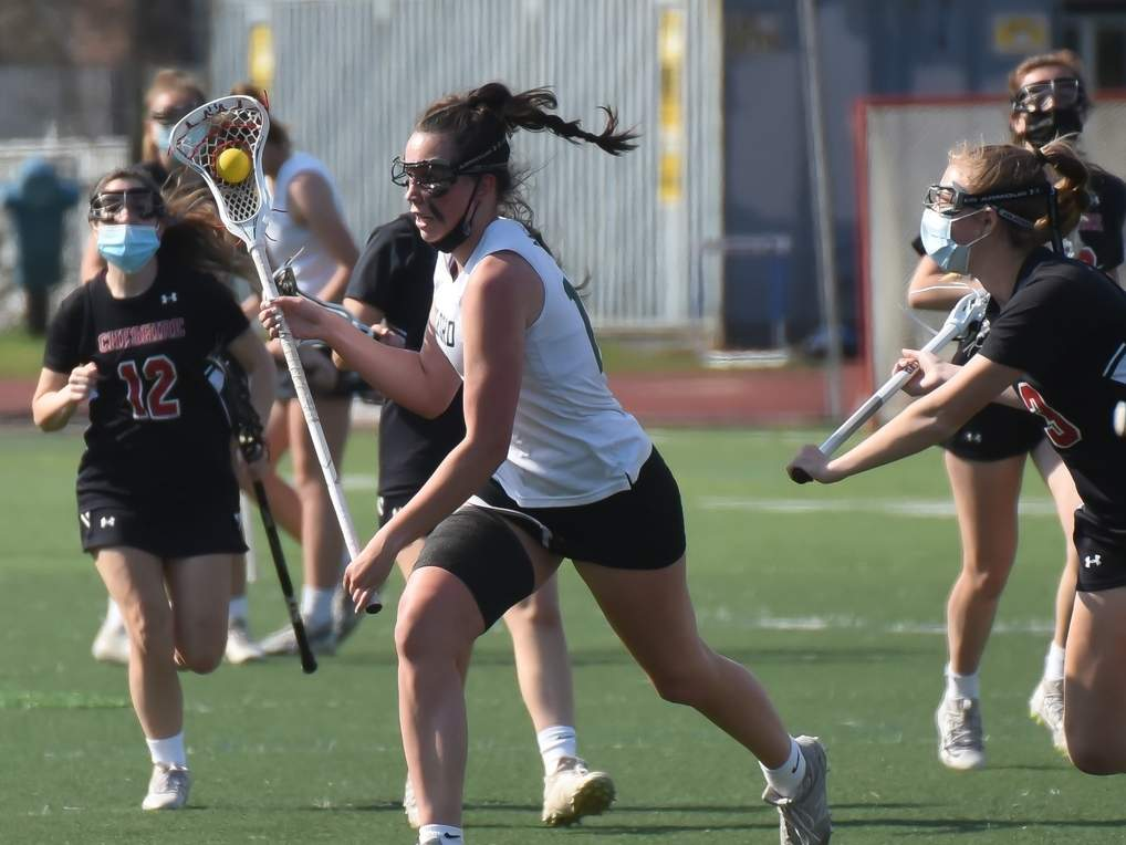 Senior captain Hannah Tillier and the Guilford girls' lacrosse squad have stormed out to a 6-0 start to their season, winning all six of those contests in dominant fashion. Photo by Kelley Fryer/The Courier