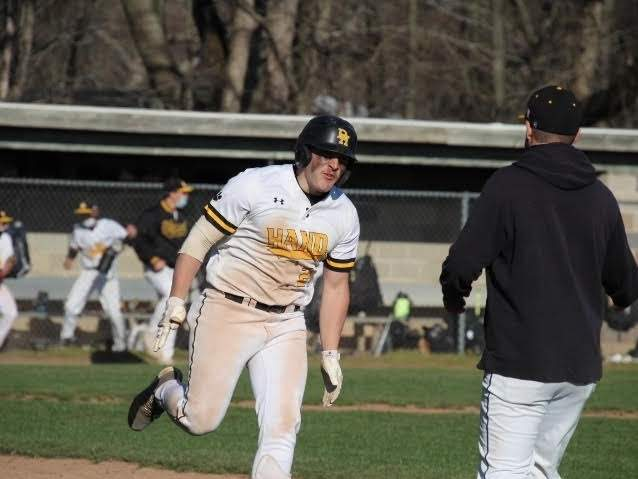 Senior captain Anthony DePino blasted a home run to help the Hand baseball defeat Xavier by a 3-2 score in a home game last week. The Tigers also defeated Amity and Cheshire and are 7-0 on the year. Photo courtesy of Luann Carbone