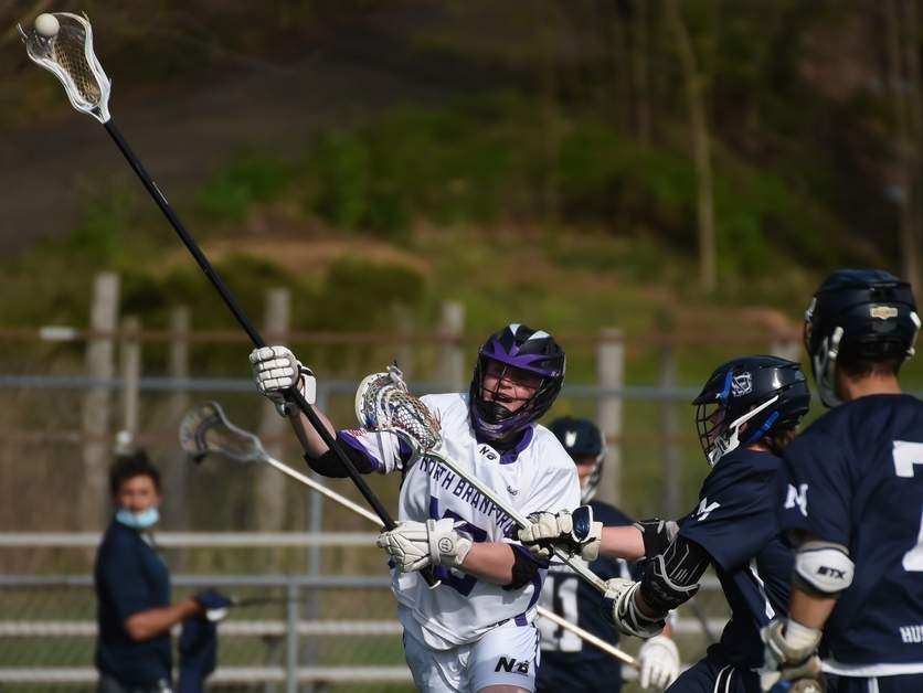 Senior captain defender Jamison O'Brien and the North Branford boys' lacrosse squad are aiming to develop a foundation for success this year after missing out on the 2020 spring season. Photo by Kelley Fryer/The Sound