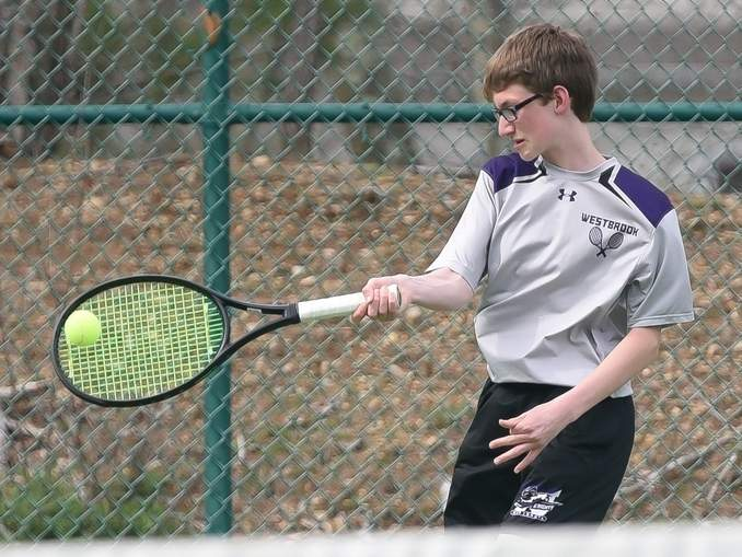 Freshman Elliot Koplas and the Westbrook boys' tennis team remained undefeated at 9-0 after last week's contests against Old Saybrook and Morgan.  File photo by Kelley Fryer/Harbor News