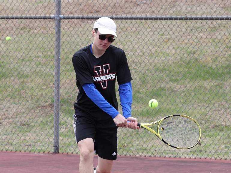 Junior Nic Wyzkowski and the Valley Regional boys' tennis squad have a 6-2 record after last week's action against Portland and Old Lyme. Wyzkowski remained undefeated at the No. 1 singles position after winning both of his matches last week. Photo courtesy of Laura Matesky