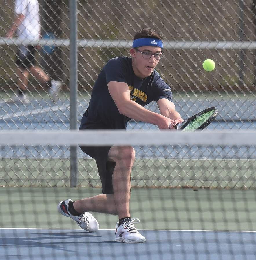 East Haven Boys Tennis took on Jonathan Law at home. (3 Singles) Matthew DiVito  Photo by Kelley Fryer/The Courier