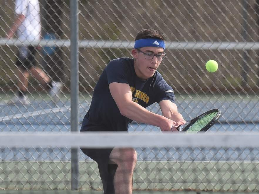 Senior Mat DiVito won all three of his singles matches to help the East Haven boys' tennis squad notch three recent victories and improve to 6-5 this spring. File photo by Kelley Fryer/The Courier