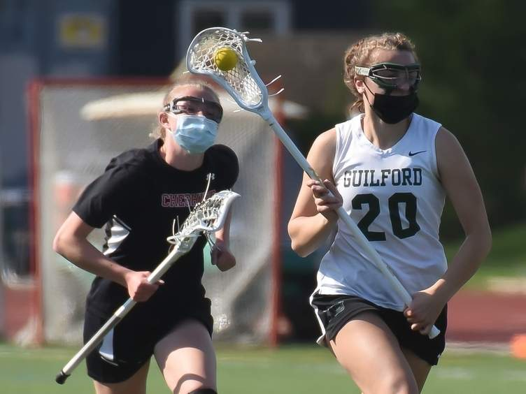Junior Maddie Epke and the Guilford girls' lacrosse squad boosted their record to 9-2 by winning two of their three games in last week's action. File photo by Kelley Fryer/The Courier