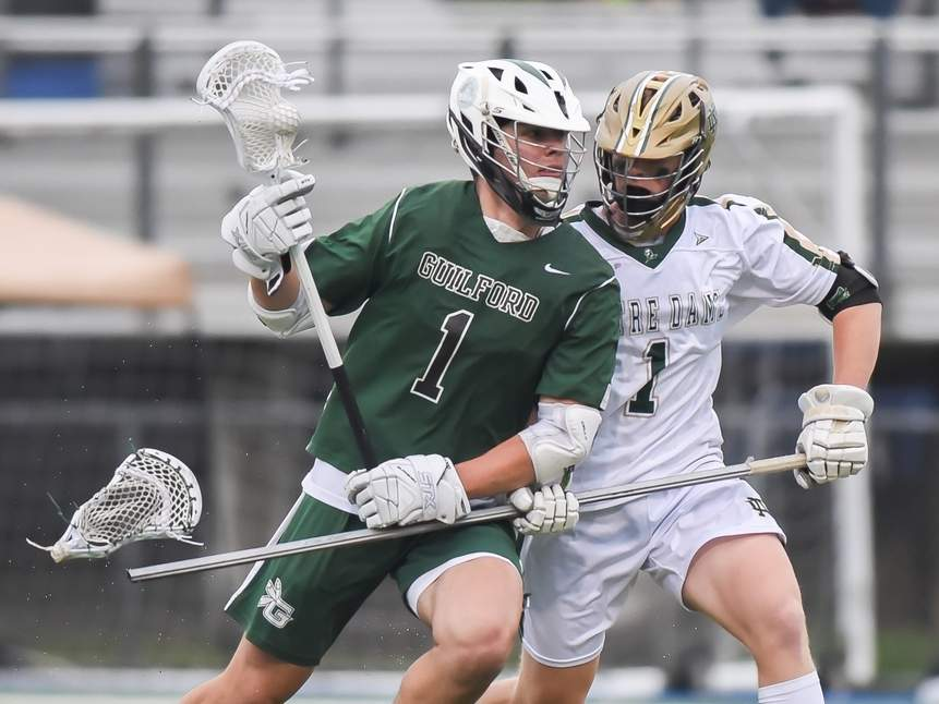 Senior Aedan McDermott and the Guilford boys' lacrosse squad won two of their three games in last week's action by defeating North Haven and Avon to go with a loss against Notre Dame-West Haven. Photo by Kelley Fryer/The Courier