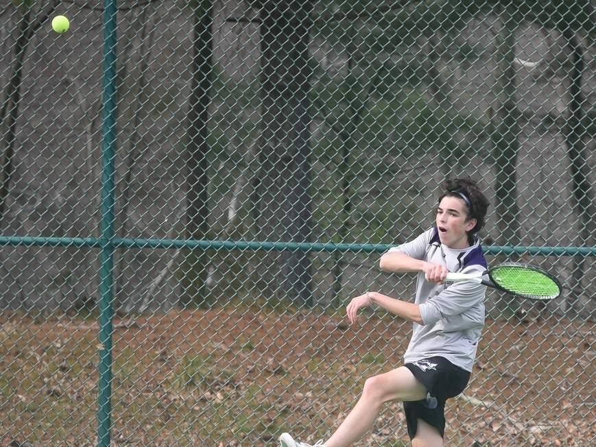 Senior captain Jesse McGannon and the Westbrook boys' tennis squad secured the No. 1 seed in the Shoreline Conference Tournament last week with a 7-0 win over Haddam- Killingworth on May 3. File photo by Kelley Fryer/Harbor News